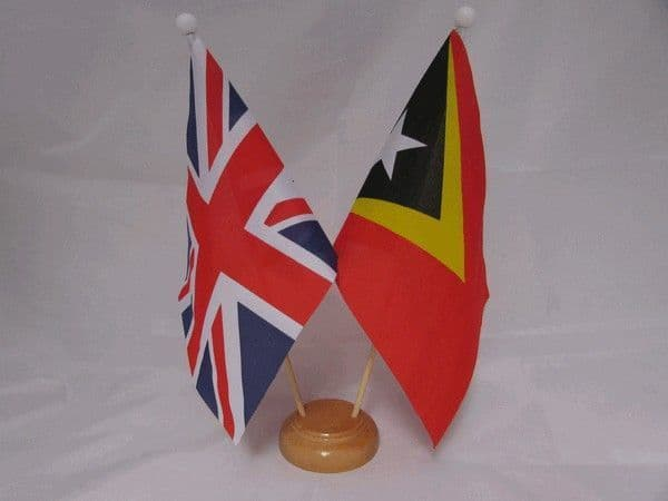 East Timor Friendship Wooden Table Flag