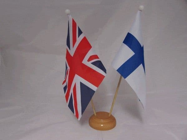 Finland Friendship Wooden Table Flag