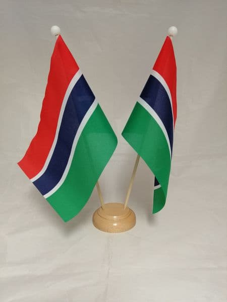 Gambia Double Wooden Table Flag