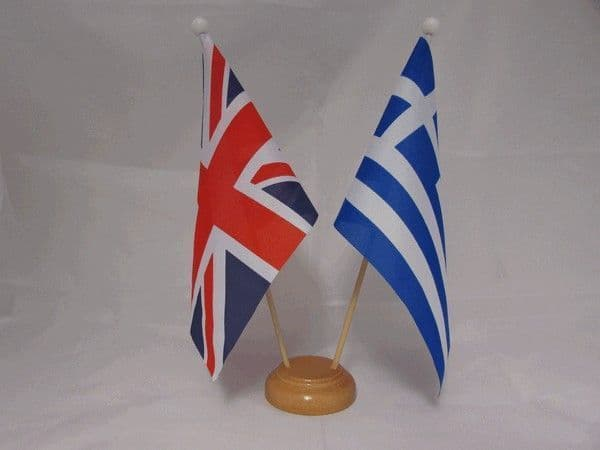 Greece Friendship Wooden Table Flag