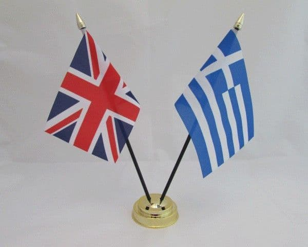 Greece with UK Friendship Table Flag