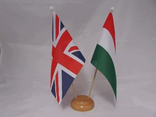 Hungary Friendship Wooden Table Flag