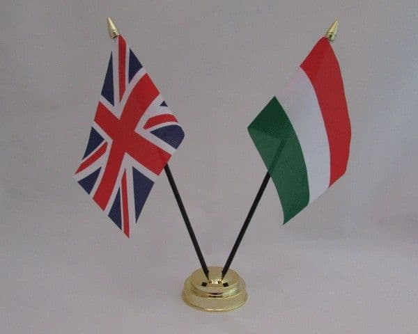 Hungary with UK Friendship Table Flag