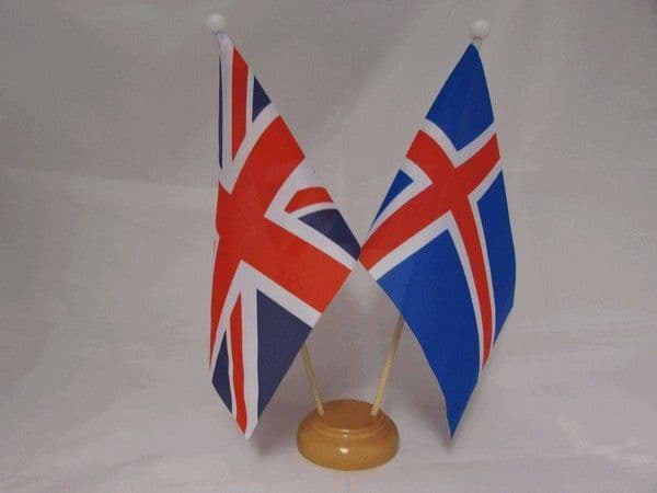 Iceland Friendship Wooden Table Flag