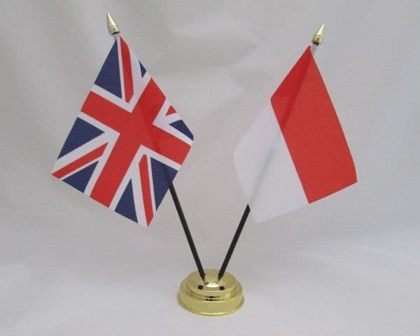 Indonesia with UK Friendship Table Flag
