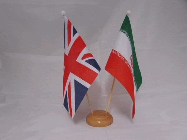 Iran Friendship Wooden Table Flag