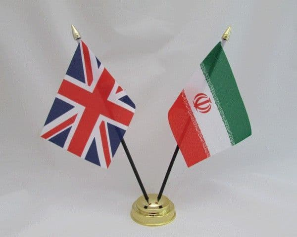 Iran with UK Friendship Table Flag