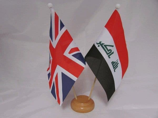 Iraq Friendship Wooden Table Flag