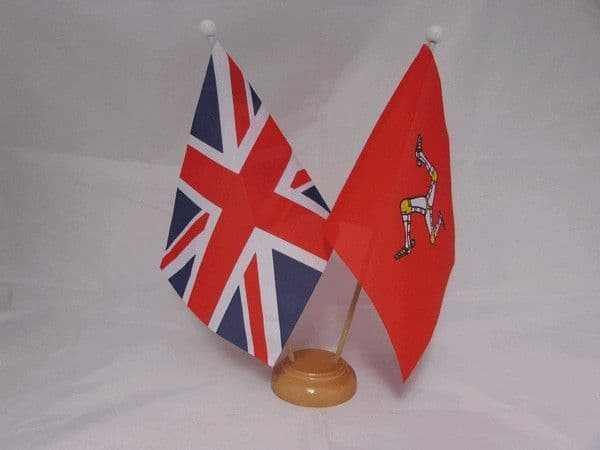 Isle of Man Friendship Wooden Table Flag