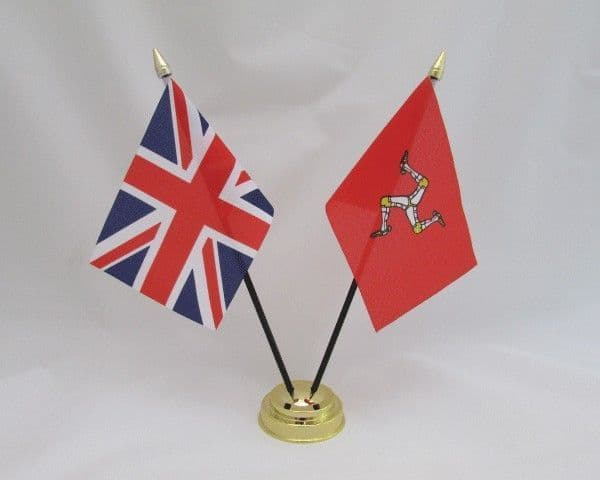 Isle of Man with UK Friendship Table Flag