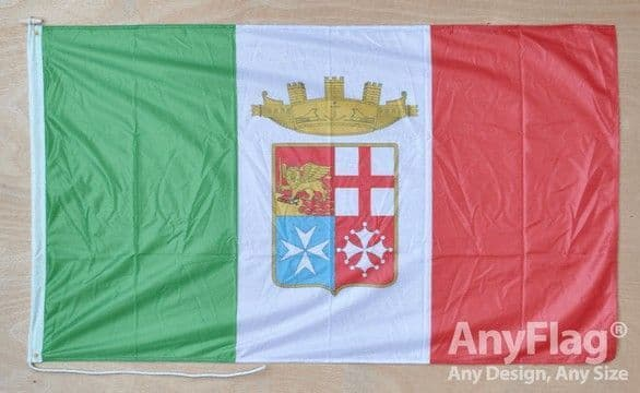 Italy Navy Ensign 5ft x 3ft Flag Rope & Toggle
