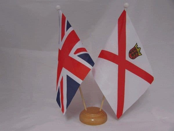 Jersey Friendship Wooden Table Flag