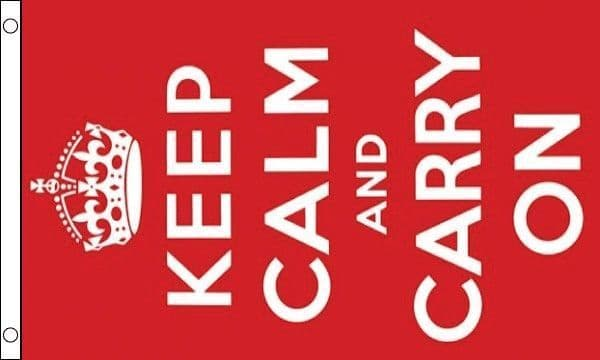 Keep Calm And Carry On (Red) MINI Flag - 9