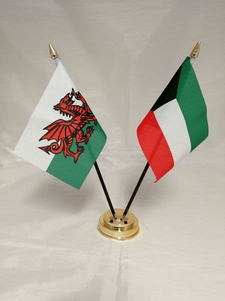 Kuwait with Wales Friendship Table Flag