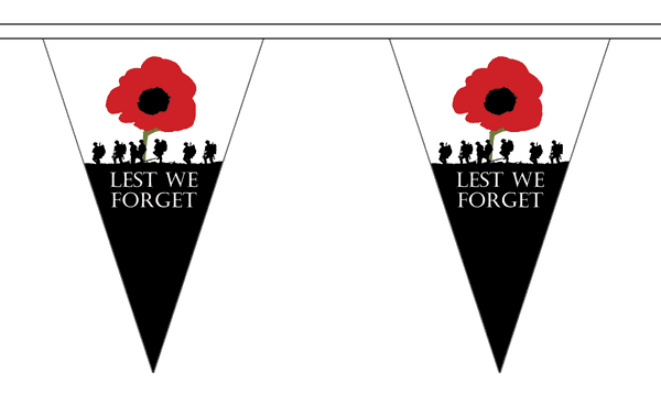 Lest We Forget Triangle Bunting (5m) - 12 Flags
