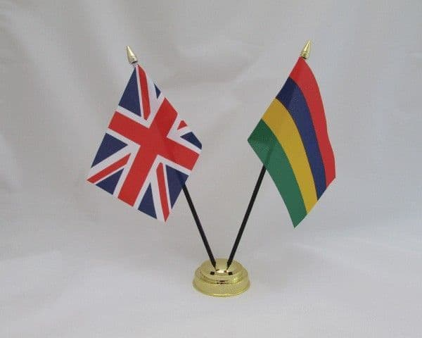 Mauritius with UK Friendship Table Flag