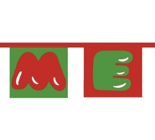 Merry Christmas (Text) Bunting (15 flags)