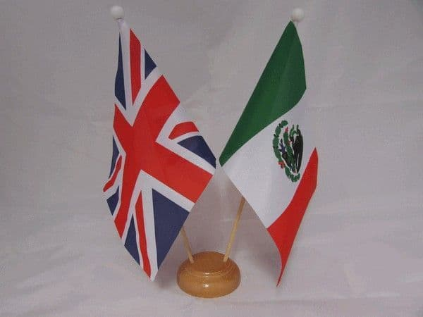 Mexico Friendship Wooden Table Flag