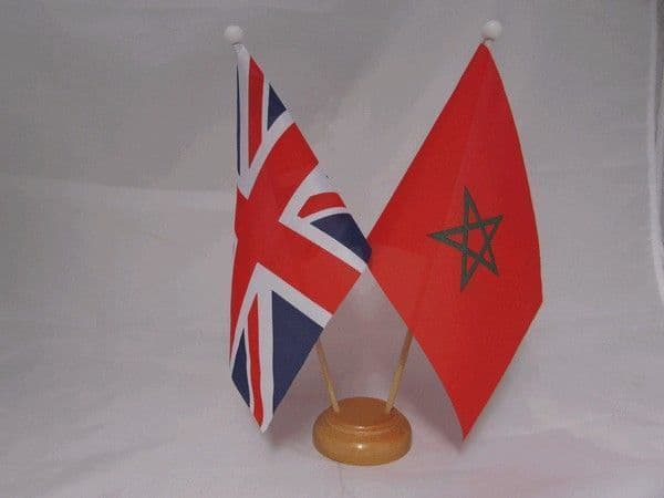 Morocco Friendship Wooden Table Flag