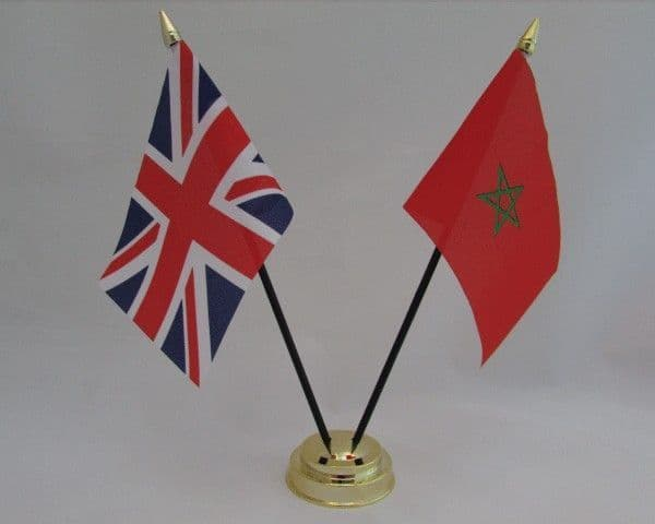 Morocco with UK Friendship Table Flag