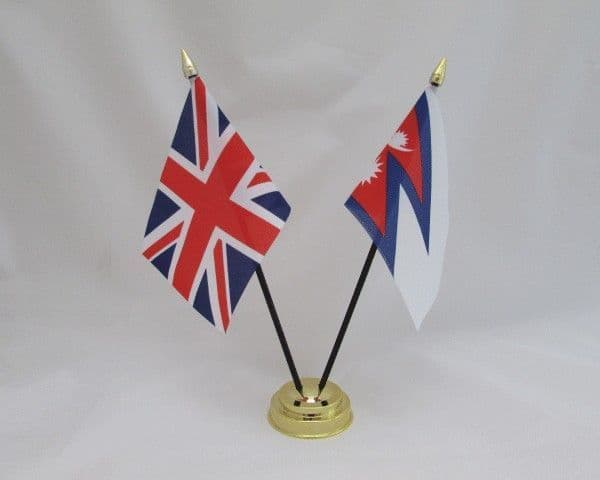Nepal with UK Friendship Table Flag