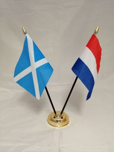 Netherlands with Scotland Friendship Table Flag