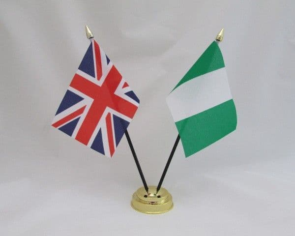Nigeria with UK Friendship Table Flag