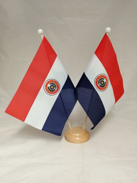Paraguay Double Wooden Table Flag