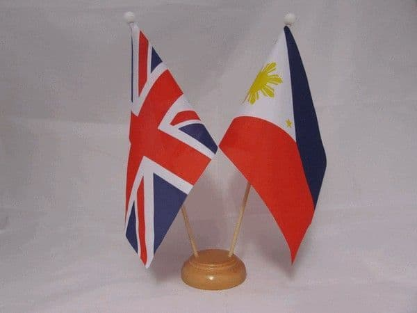 Philippines Friendship Wooden Table Flag