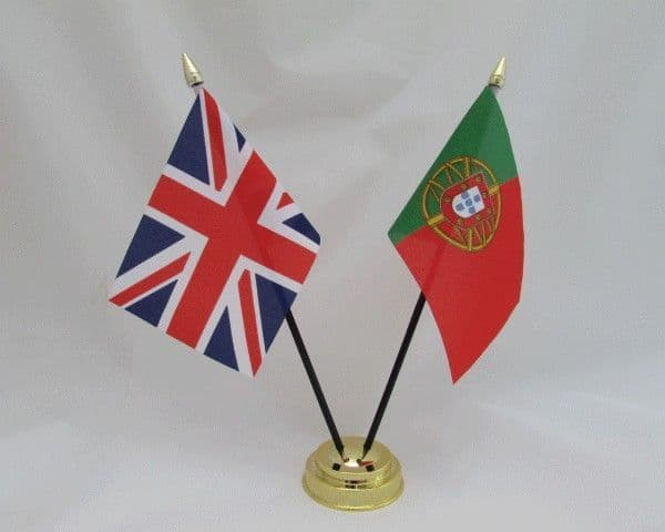 Portugal with UK Friendship Table Flag