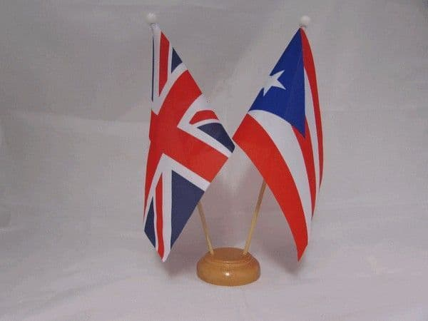 Puerto Rico Friendship Wooden Table Flag