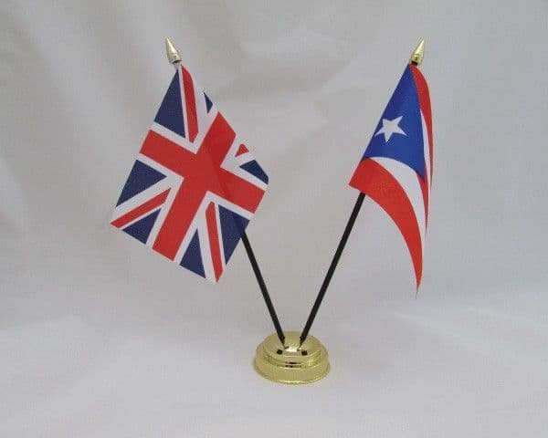 Puerto Rico with UK Friendship Table Flag