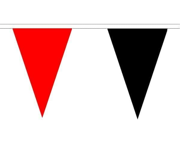 Red & Black Triangle Bunting (5m) - 12 Flags