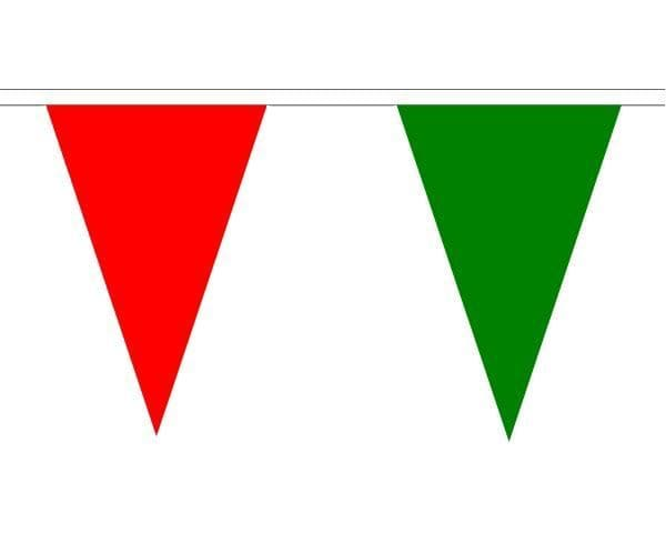 Red & Green Triangle Bunting (20m) - 54 Flags