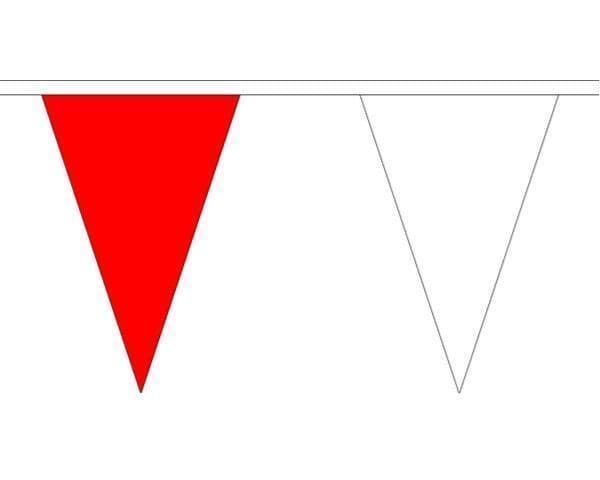 Red & White Triangle Bunting (20m) - 54 Flags