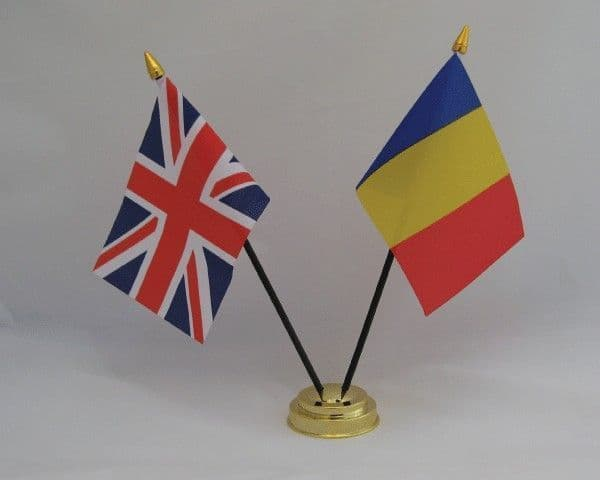 Romania with UK Friendship Table Flag