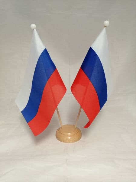 Russia Double Wooden Table Flag