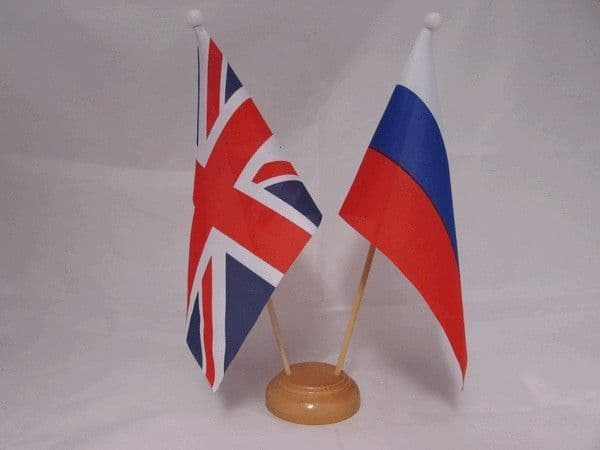 Russia Friendship Wooden Table Flag