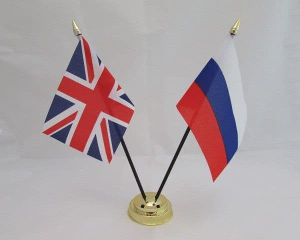 Russia with UK Friendship Table Flag