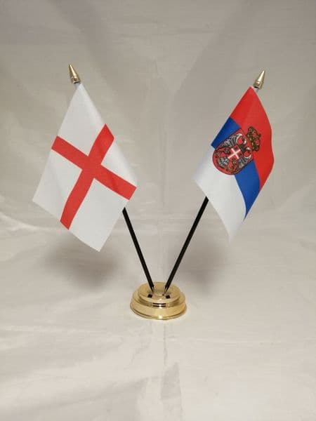 Serbia with England Friendship Table Flag