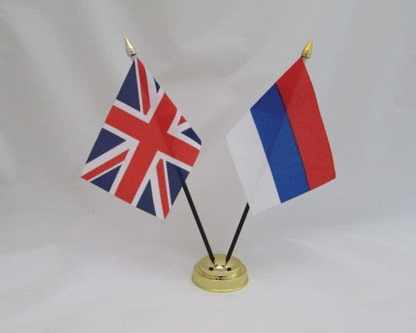 Serbia with UK Friendship Table Flag