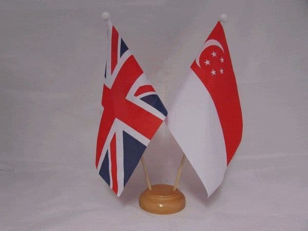 Singapore Friendship Wooden Table Flag