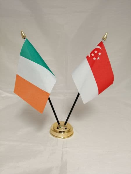 Singapore with Ireland Friendship Table Flag