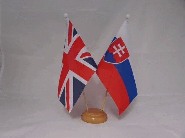 Slovakia Friendship Wooden Table Flag