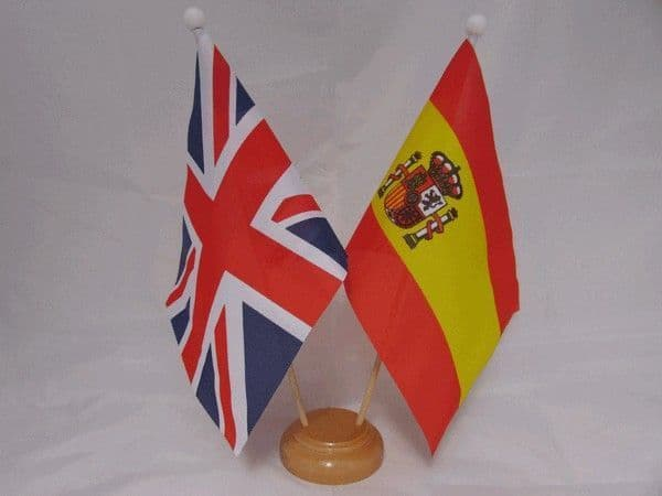 Spain State Friendship Wooden Table Flag