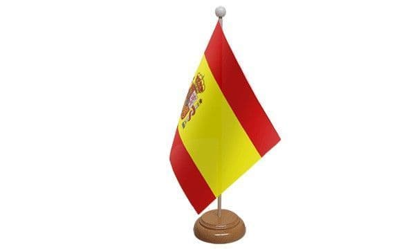 Spain State Wooden Table Flag