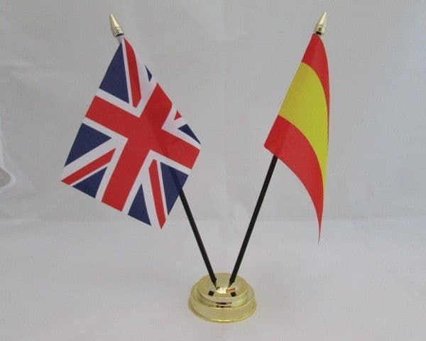 Spain with UK Friendship Table Flag