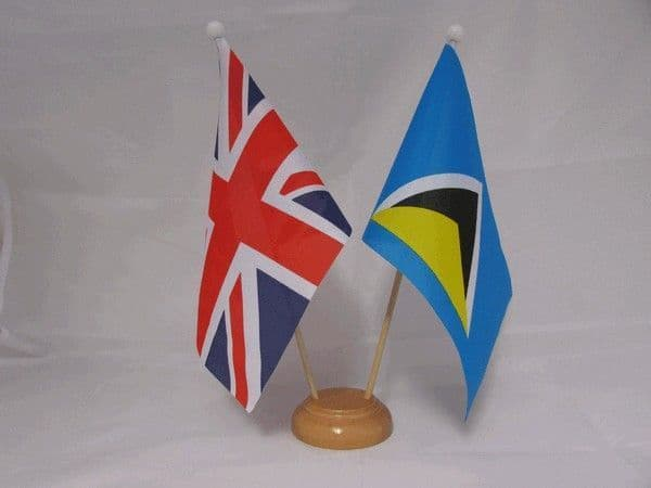 St Lucia Friendship Wooden Table Flag