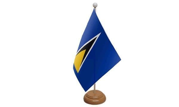 St Lucia Wooden Table Flag