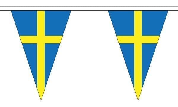 Sweden Triangle Bunting (5m) - 12 Flags